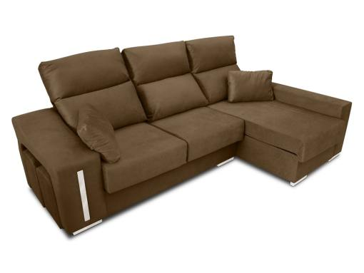 Chaise longue sofa Nantes with sliding seats in closed position. Brown fabric. Chaise longue on the right
