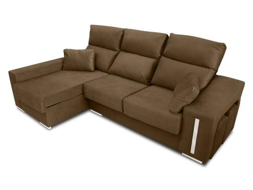 Chaise longue sofa Nantes with sliding seats in closed position. Brown fabric. Chaise longue on the left