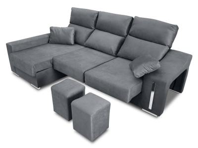 Chaise longue sofa with sliding seats, reclining headrests, 2 pouffes, storage. Grey fabric. Chaise longue on the left