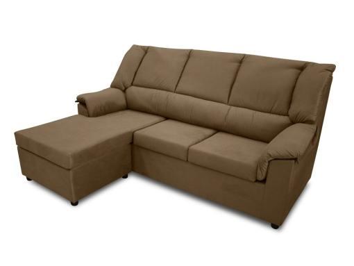 Sofá chaise longue pequeño económico - Nimes. Tela marrón, chaise longue montada a la izquierda