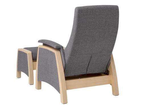 Backside view. Gliding armchair and footstool, 2 swinging mechanisms - Ringsted
