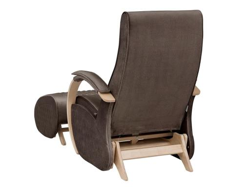 Backside view. Glider rocking chair with a fixed base and footstool - Dubai