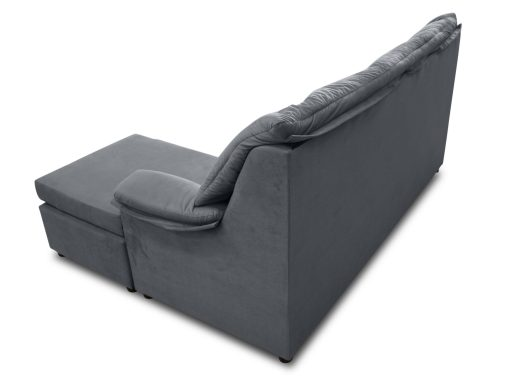 Vista detrás. Sofá chaise longue pequeño económico - Nimes. Tela gris, chaise longue montada a la derecha