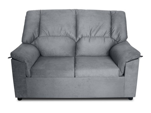 Front view. Small inexpensive 2-seater sofa - Nimes. Grey stain-resistant fabric