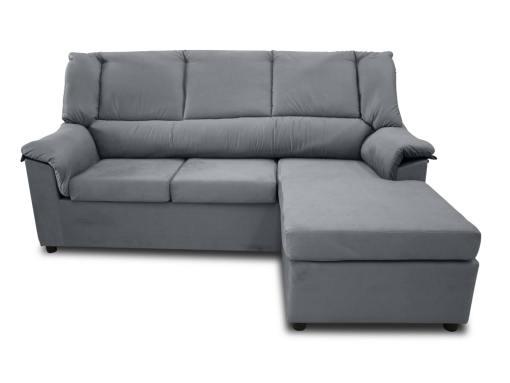 Vista frontal. Sofá chaise longue pequeño económico - Nimes. Tela gris, chaise longue montada a la derecha