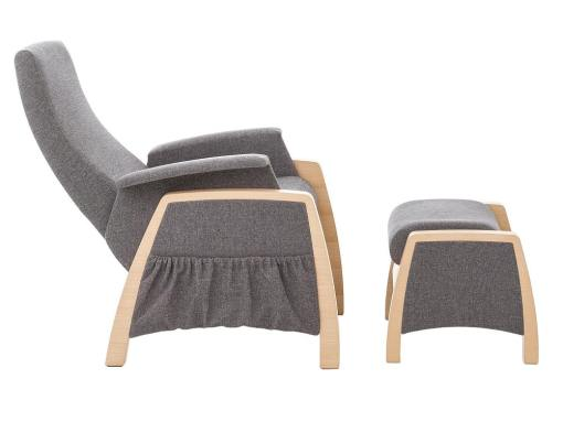 Side view. Gliding armchair and footstool, 2 swinging mechanisms - Ringsted