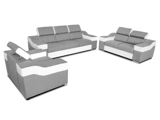 Conjunto 3+2+1 - sofá 3 plazas, 2 plazas, 1 sillón, reposacabezas reclinables - Grenoble. Tela gris claro, polipiel blanca