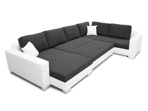 Modo cama con el puf colocado entre los dos partes. Sofá rinconera en forma de U modelo Lyon