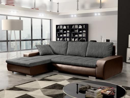 Sofá chaise longue cama con arcón, tela imitación lino - Richmond. Tela gris, piel sintética marrón. Chaise longue lado izquierdo