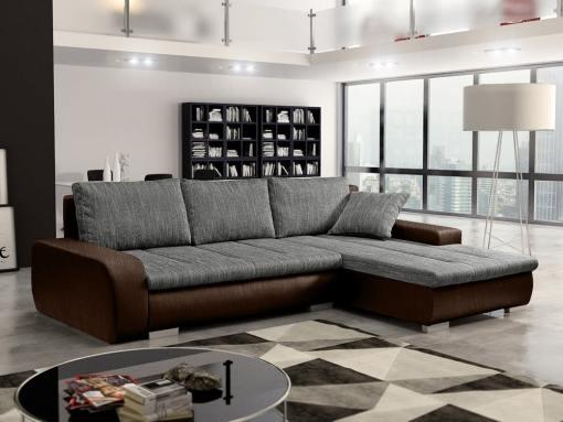 Sofá chaise longue cama con arcón, tela imitación lino - Richmond. Tela gris, tela marrón. Chaise longue lado derecho