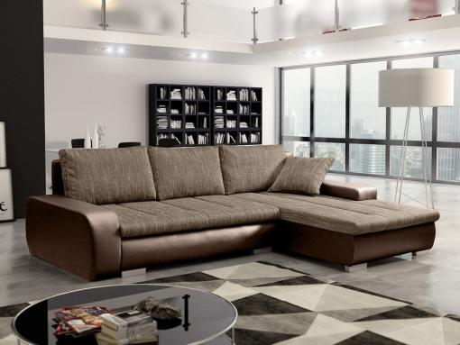 Sofá chaise longue cama con arcón, tela imitación lino - Richmond. Tela marrón, piel sintética marrón. Chaise longue lado derecho