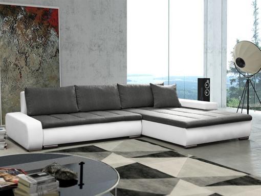 Sofá chaise longue grande XXL con cama y arcón - Vernon. Tela gris, polipiel blanca. Chaise longue lado derecho