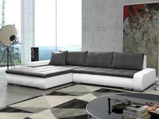 Sofá chaise longue grande XXL con cama y arcón - Vernon. Tela gris, polipiel blanca. Chaise longue lado izquierdo