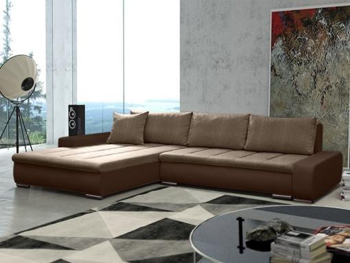 Sofá chaise longue grande XXL con cama y arcón - Vernon. Tela marrón, polipiel marrón. Chaise longue lado izquierdo