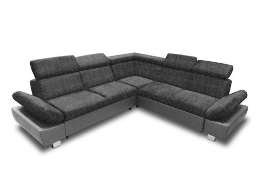 Sofá rinconera con cama, baúl extraíble (derecho) y reposabrazos reclinables - Reims. Gris oscuro con gris