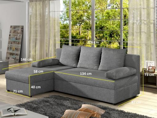 Размеры компактного углового дивана-кровати -York