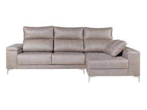 Sofá chaise longue (derecha) con arcón en brazo, asientos deslizantes, cabezales reclinables - Huelva. Color gris claro (cemento)