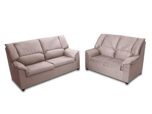 Inexpensive set of 3 seater sofa and 2 seater sofa - Nimes. Beige stain resistant fabric