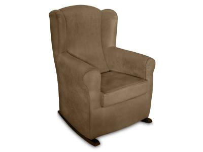 Rocking armchair upholstered in stain resistant fabric - Rennes. Brown fabric