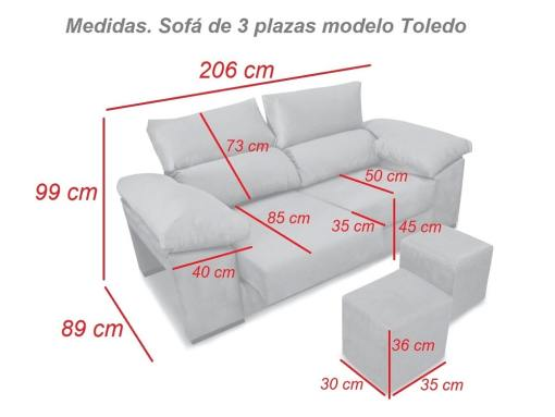 Medidas. Sofá tres plazas, asientos deslizantes, respaldos reclinables, 2 pufs - Toledo