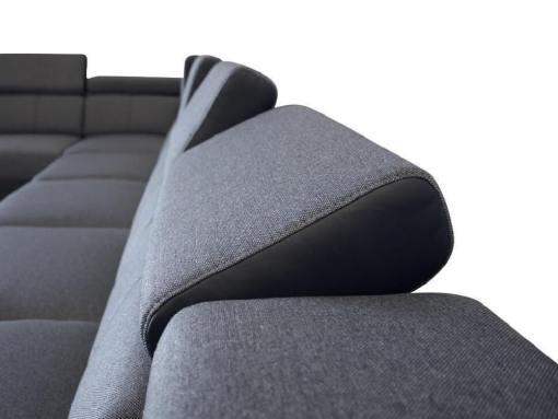Reposacabezas reclinables (7 posiciones). Sofá 8 plazas, XXL - Chessy. Tela gris, piel sintética negra