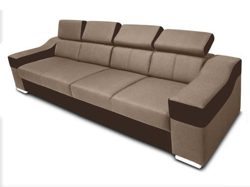 4 seater sofa with reclining headrests and wide armrests - Grenoble. Beige fabric, brown faux leather