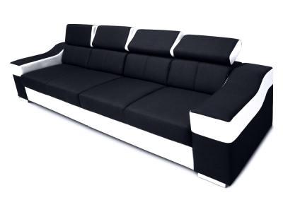 4-местный диван с регулируемыми подголовниками и широкими подлокотниками - Grenoble. Чёрная ткань, белая искусственная кожа