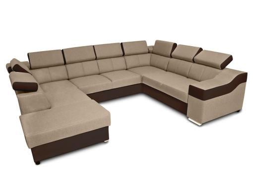 Sofá 7 plazas en forma de U con cama extraíble y reposacabezas reclinables - Cannes. Brazo lado derecho. Tela beige, polipiel marrón