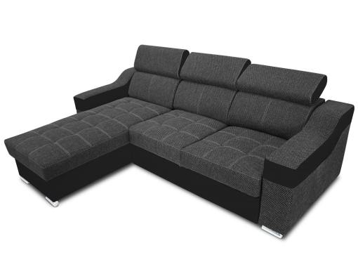 Chaise longue sofa bed with high headrests - Albi. Grey fabric, black faux leather. Chaise longue mounted on the left