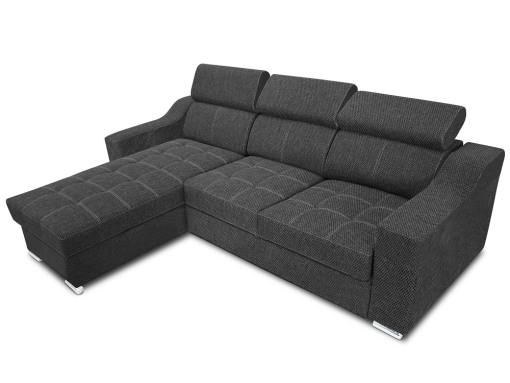 Chaise longue sofa bed with high headrests - Albi. Grey fabric all over. Chaise longue mounted on the left
