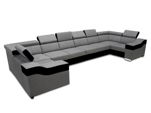 Sofá en forma de U, 8 plazas, XXL - Chessy. Tela gris claro, piel sintética negra