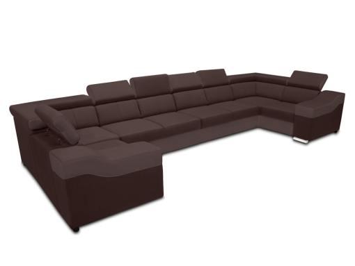 Sofá en forma de U, 8 plazas, XXL - Chessy. Tela gris marrón, piel sintética color marrón