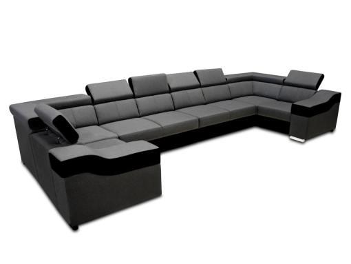 Sofá en forma de U, 8 plazas, XXL - Chessy. Tela gris, piel sintética negra