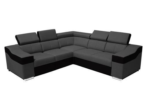Sofá rinconera 5 plazas, altos reposacebezas y respaldos - Grenoble. Lados iguales 265 x 265 cm, tela gris, polipiel negra