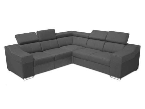 Sofá rinconera 5 plazas, altos reposacabezas y respaldos - Grenoble. Lados iguales 265 x 265 cm, todo tela gris