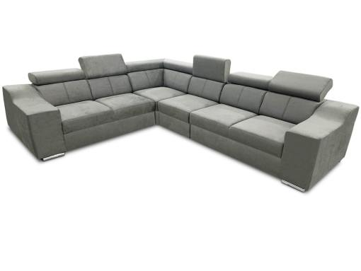 Sofá rinconera con altos reposacabezas y respaldos, 6 plazas - Grenoble. Tela gris claro (todo el sofá)