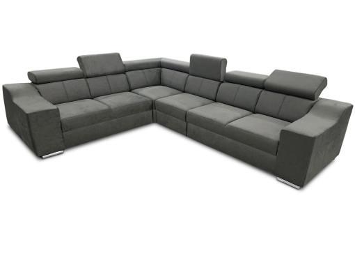 Sofá rinconera con altos reposacabezas y respaldos, 6 plazas - Grenoble. Tela gris (todo el sofá). Lado izquierdo