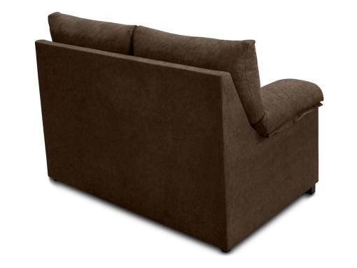 Vista detrás. Sofá 2 plazas económico en tela sintética marrón (chocolate) - Salamanca