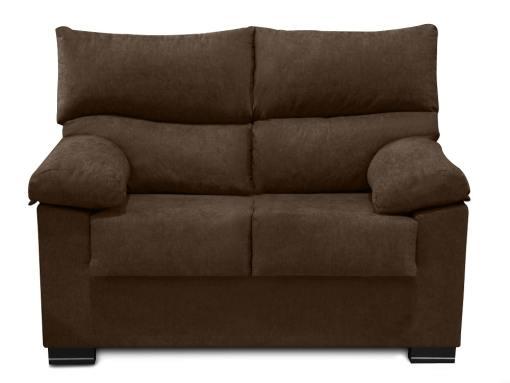 Vista frontal. Sofá 2 plazas económico en tela sintética marrón (chocolate) - Salamanca
