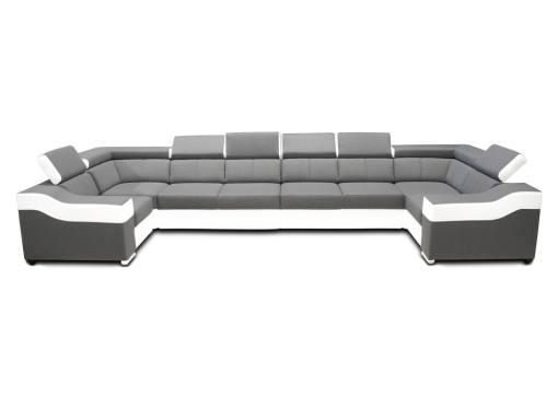 Vista frontal. Sofá en forma de U, 8 plazas, XXL - Chessy. Tela gris claro, piel sintética blanca