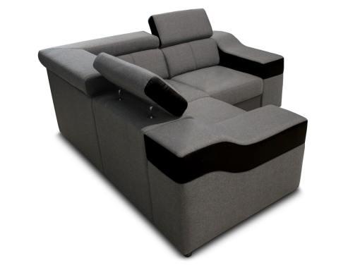 Vista lateral y detrás. Sofá rinconera mini 190 x 190 cm, modelo Grenoble. Tela gris, polipiel negra
