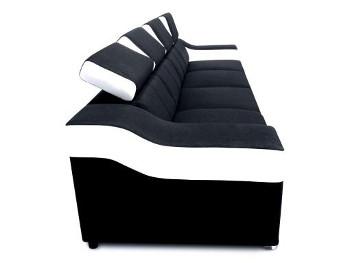 Side view of the Grenobale 4 seater. Black fabric, white faux leather