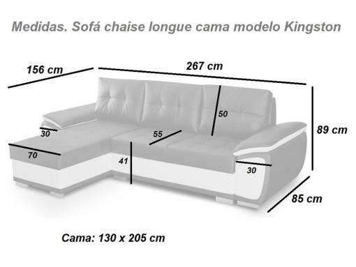 Medidas. Sofá chaise longue cama tapizado en polipiel - modelo Kingston
