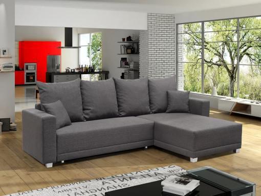 Sofá cama con chaise longue larga (derecha), arcón, cojines - Barrie. Tela gris oscuro