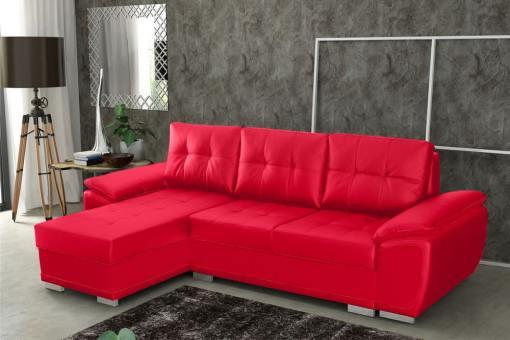Sofá chaise longue cama en polipiel roja - Kingston. Chaise longue lado izquierdo