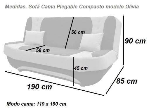 Medidas. Sofá Cama Plegable Compacto modelo Olivia