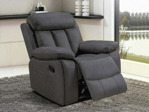 Recliner Armchair Upholstered in Grey Fabric - Barcelona. Fabric Luna