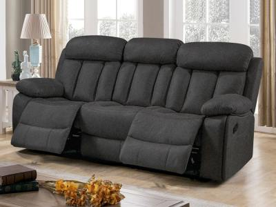 Three Seater Recliner Sofa Upholstered in Grey Fabric – Barcelona. Fabric Luna