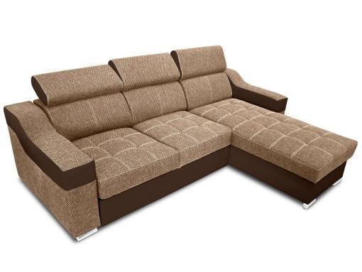 Угловой диван-кровать с высокими подголовниками - Albi. Бежевая ткань, коричневая искусственная кожа. Угол справа