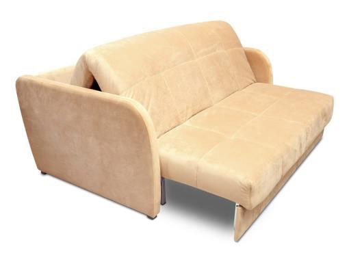 Sistema de apertura. Sofá cama pequeño de 2 plazas - Mons. Tela beige